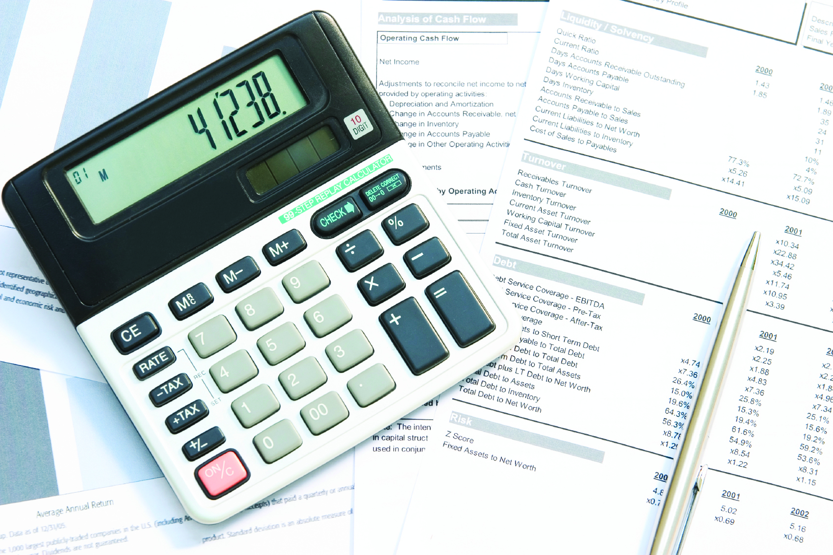 A calculator and pen on top of financial reports.